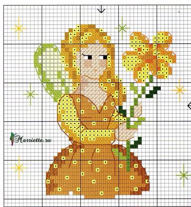 Цветы и цветочные феи для декора цветочных горшков. Вышивка (7) (648x700, 614Kb)