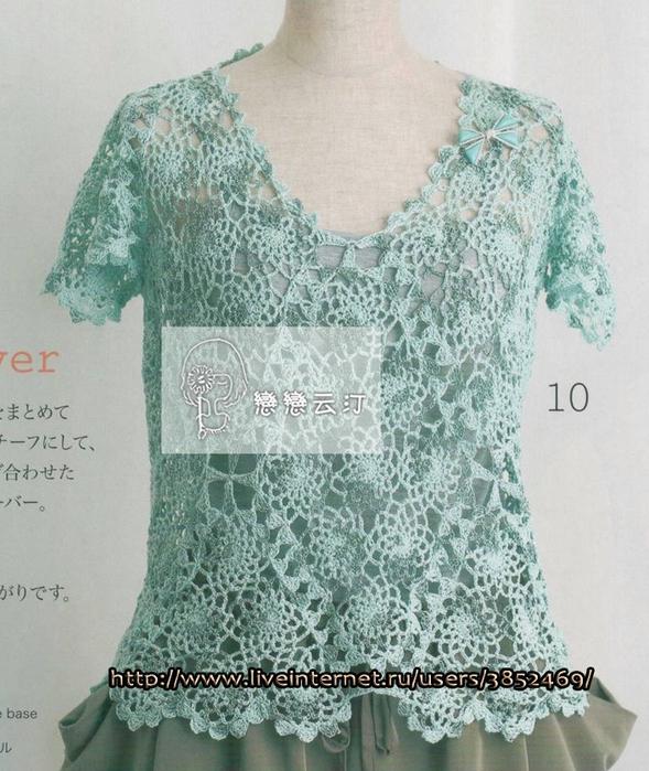 Пуловер из пряжи секционного крашения на лето (589x700, 316Kb)