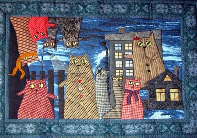 лоскутные одеяла с кошками 10 (650x455, 414Kb)