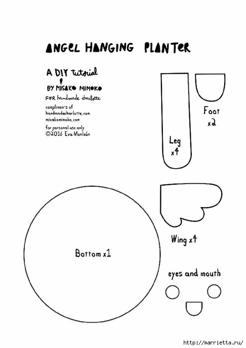Игривое кашпо-птичка из ткани для цветов (4) (494x700, 74Kb)