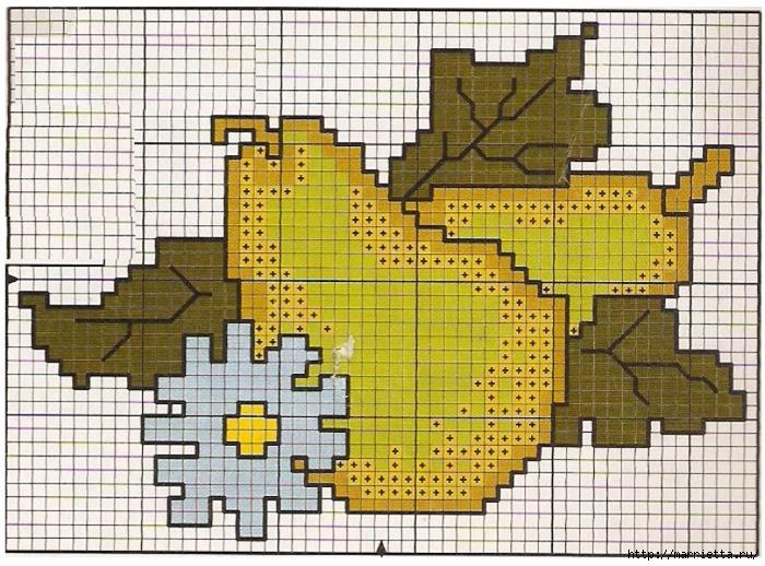 Фрукты на полотенце. Схема вышивки крестом (1) (700x518, 379Kb)