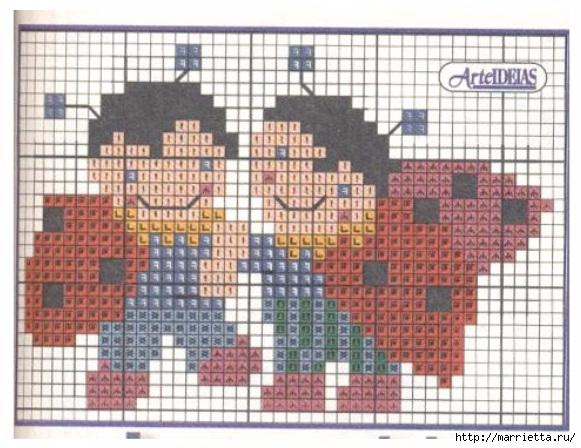 Фартук с божьими коровками. Схемы вышивки крестом (2) (581x448, 189Kb)