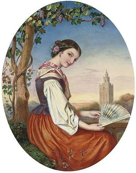 1385197100-portrait-of-a-girl-with-a-fan-in-her-hand-a-tower-beyond (479x609, 133Kb)