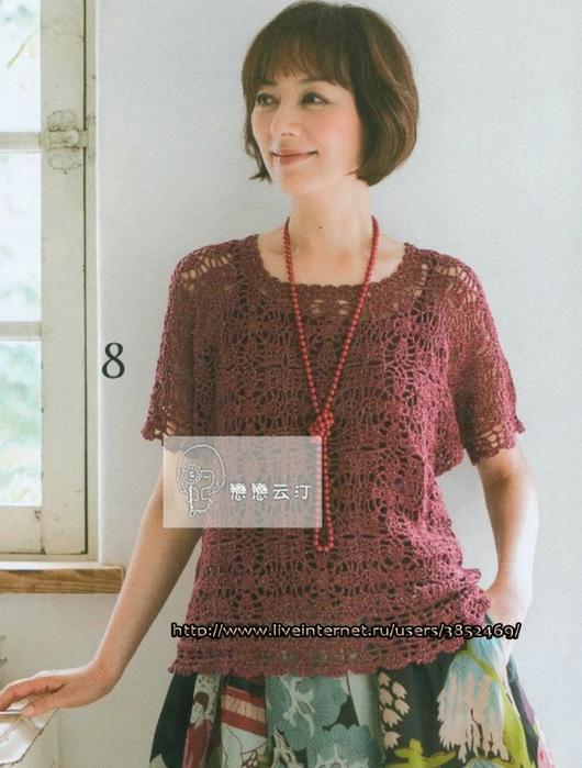Бордовый пуловер из мотивов на лето схема (530x700, 260Kb)