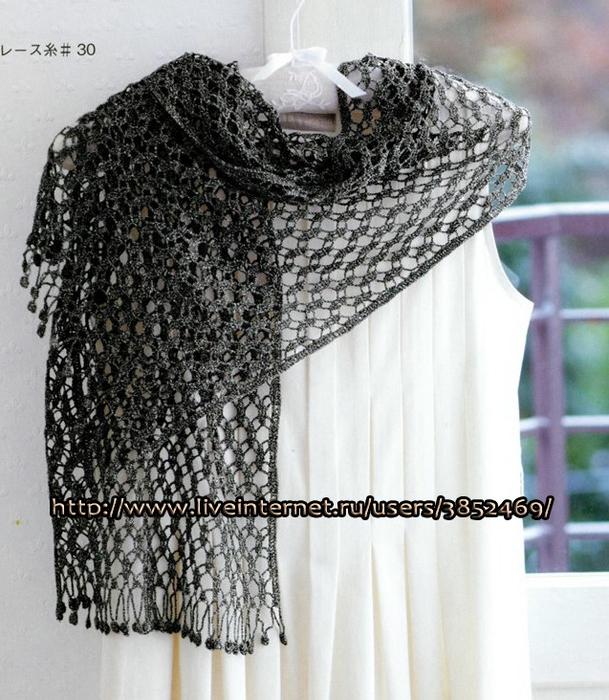 Весенний шарфик (размер 35см Х 120 см) схема (609x700, 314Kb)