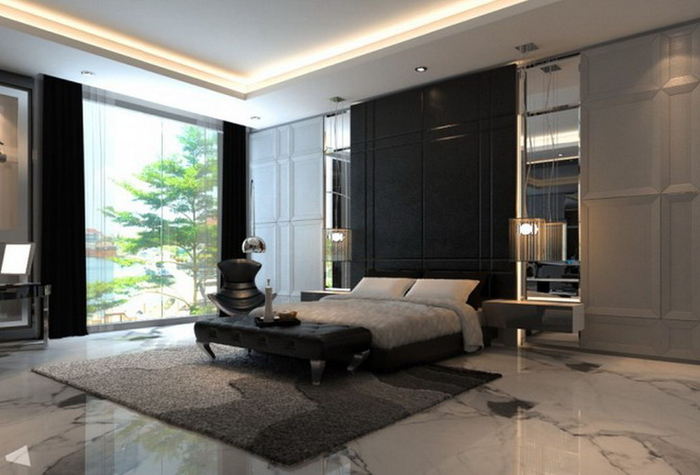 adorable-design-contemporary-modern-bedroom-ideas-black-wooden-bed-frame-black-high-headboard-black-gray-colors-plush-rug-white-marble-floor-glass-large-windows-with-black-curtains-brown-wooden-bed-on (700x475, 274Kb)