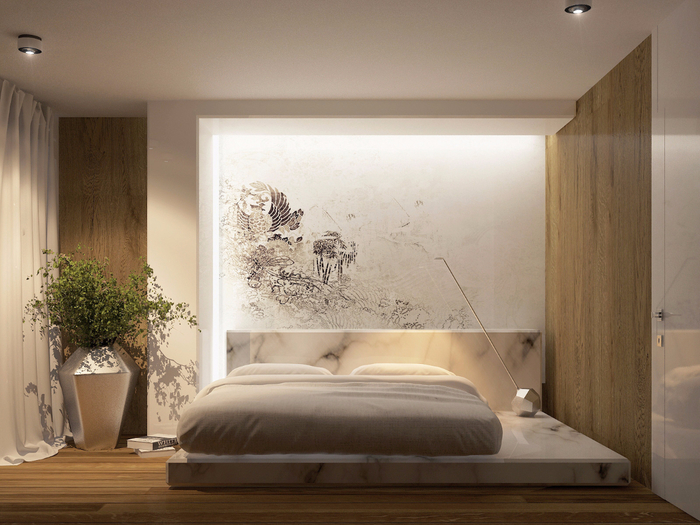 simple-modern-bedroom-with-wall-decal-and-marble-platform-bed (700x525, 392Kb)
