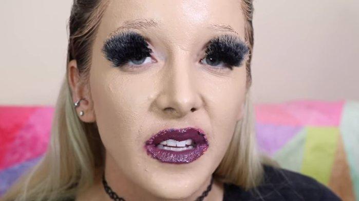 Видео: Блогерша нанесла на себя 600 слоев косметических средств