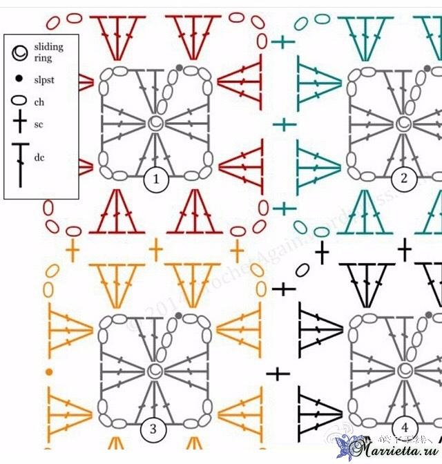 Крючком. Подушка из остатков разной пряжи (1) (640x672, 371Kb)