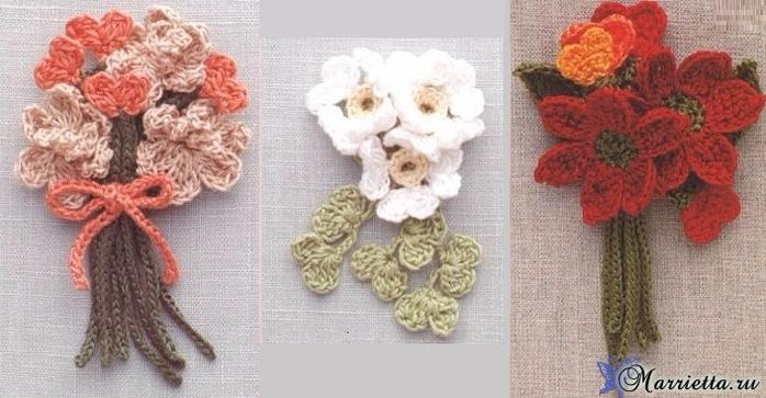 Миниатюрные букетики цветов крючком. Схемы (1) (700x363, 278Kb)