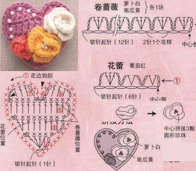 Миниатюрные букетики цветов крючком. Схемы (5) (678x590, 382Kb)