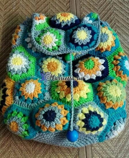 Летний рюкзак крючком цветочными мотивами (3) (449x553, 386Kb)