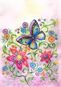 бабочки цветы. рисунок. (200x282, 31Kb)