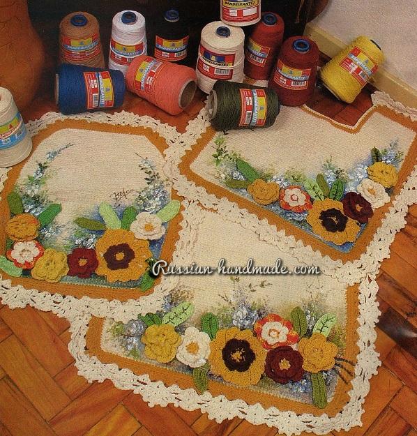Цветочный коврики для ванной. Вязание крючком (1) (598x625, 586Kb)