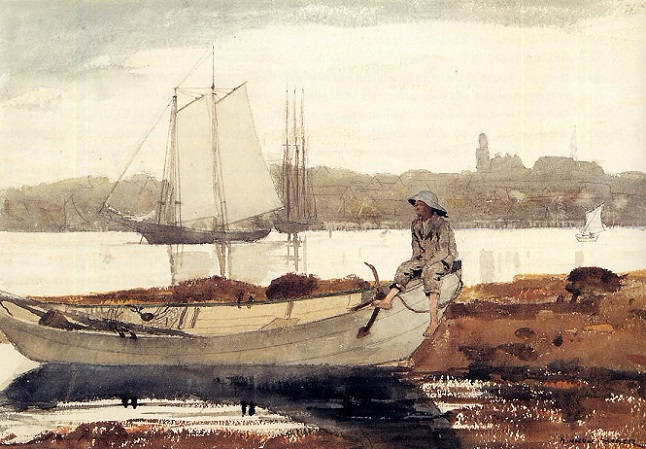 Gloucester Harbor and Dory, 1880 (646x449, 323Kb)