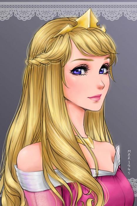 Как бы выглядели принцессы Диснея персонажами анимэ