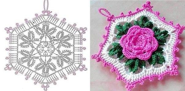 Вязание крючком прихватки с цветами