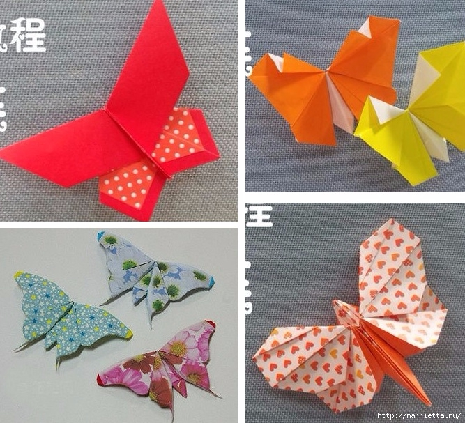 Бабочки из бумаги в технике оригами. 4 способа (1) (667x607, 324Kb)