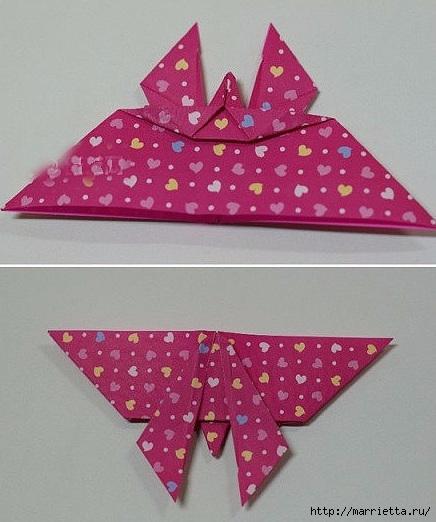 Бабочки из бумаги в технике оригами. 4 способа (17) (436x522, 139Kb)