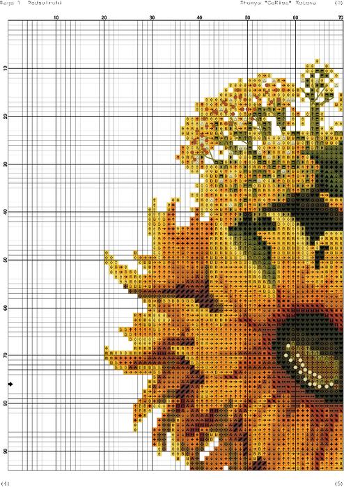 Схема вышивки крестом 9 подсолнухов 99