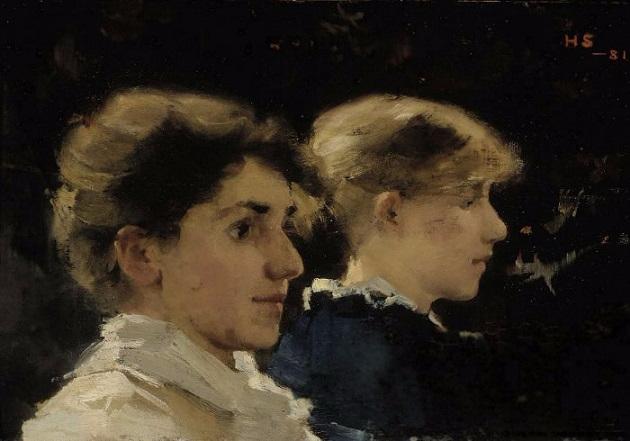 Två Huvuden i Profil. Två Kvinnoprofiler. 1881 (630x441, 196Kb)