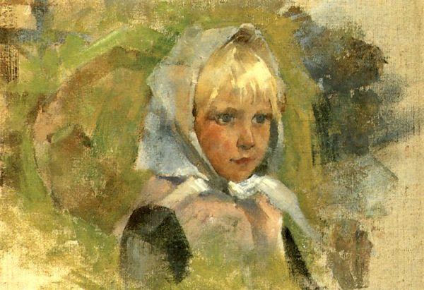 Girl in headscarf, 1880 (600x411, 241Kb)