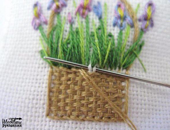 Вышивка корзинки с цветами(590x453, 211Kb)