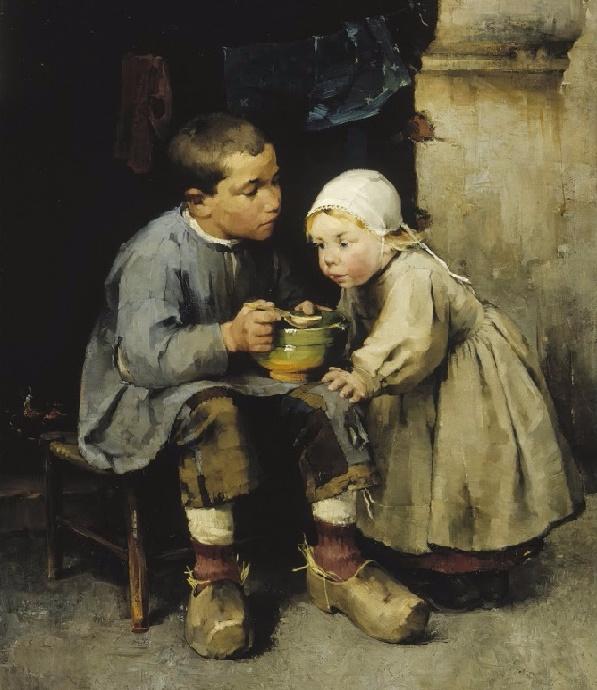 Мальчик, кормящий младшую сестру,  1881 (597x690, 340Kb)