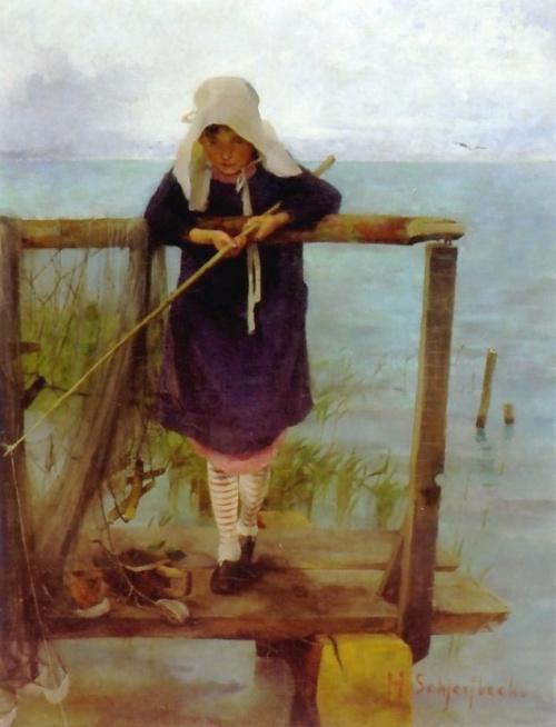 A Fishing Girl, 1884 (500x654, 253Kb)