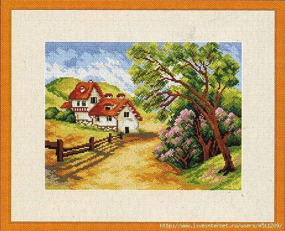 Схемы вышивки деревенских пейзажей 60