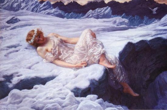 девушка в белом платье. рисунок. туман (550x361, 60Kb)
