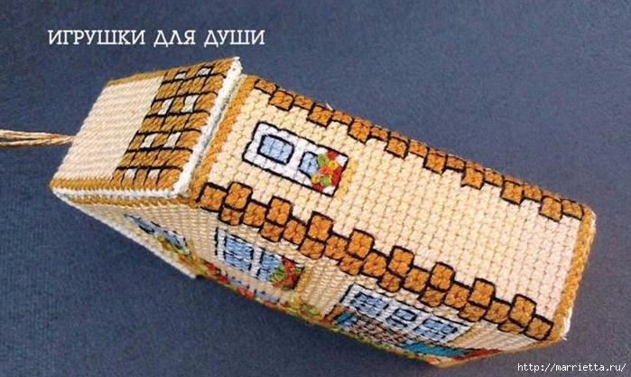 Объемный домик с вышивкой. Схема (2) (700x417, 252Kb)