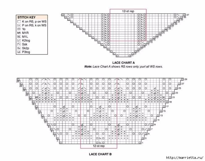 Интересная и оригинальная шаль спицами (3) (664x521, 170Kb)