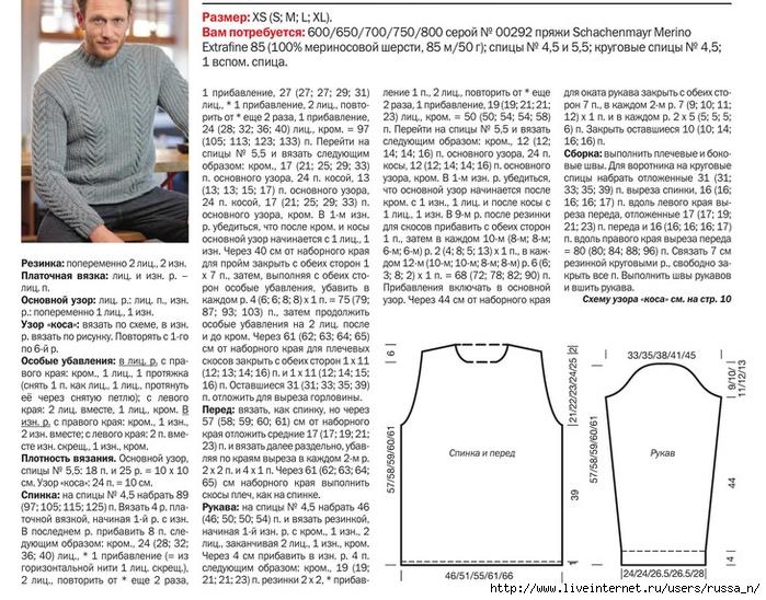 Простые схемы мужского свитера спицами