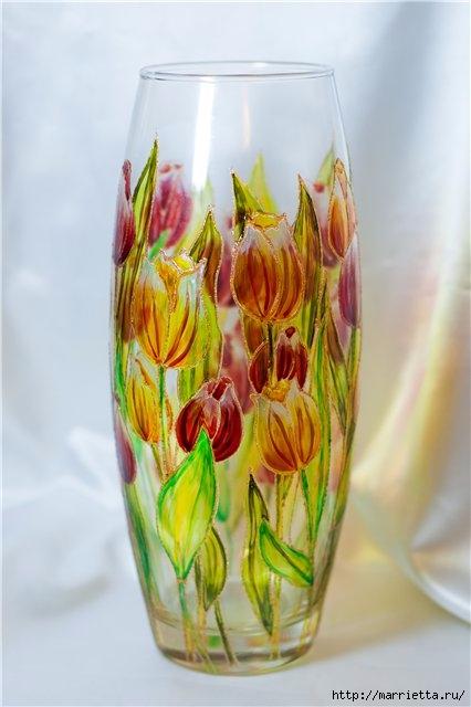Роспись стеклянной вазы витражными красками (2) (426x640, 126Kb)