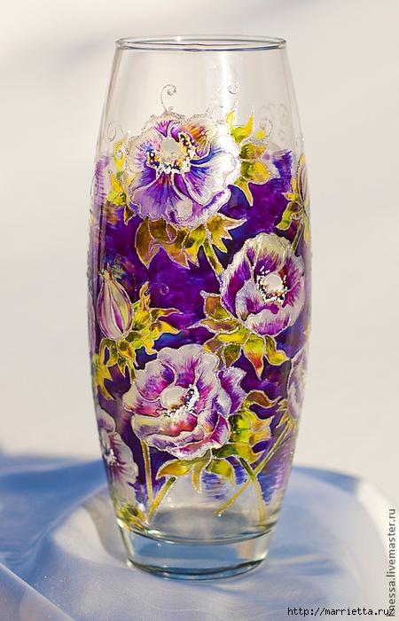 Роспись стеклянной вазы витражными красками (8) (450x700, 262Kb)