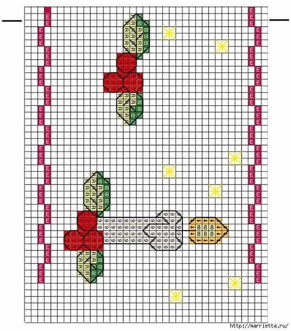 Вышиваем бордюры на полотенце. Схемы (8) (600x682, 284Kb)