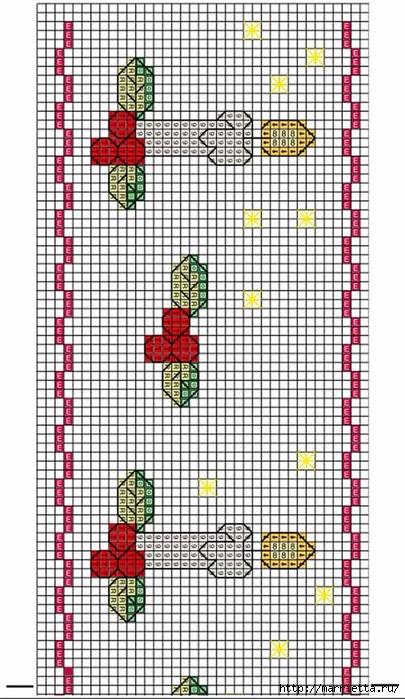 Вышиваем бордюры на полотенце. Схемы (10) (405x700, 292Kb)
