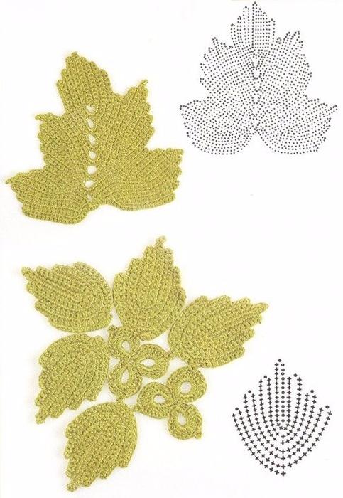 Вязание листочек схемы