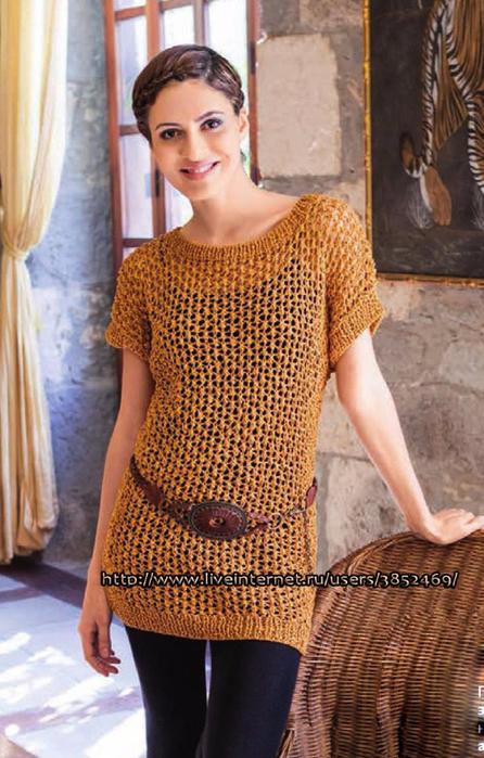 Ажурный пуловер из пряжи цвета охры схема 2 и описание (446x700, 420Kb)
