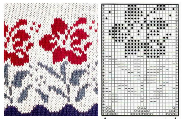 Жаккардовые узоры с цветами - схемы 9 (639x418, 342Kb)