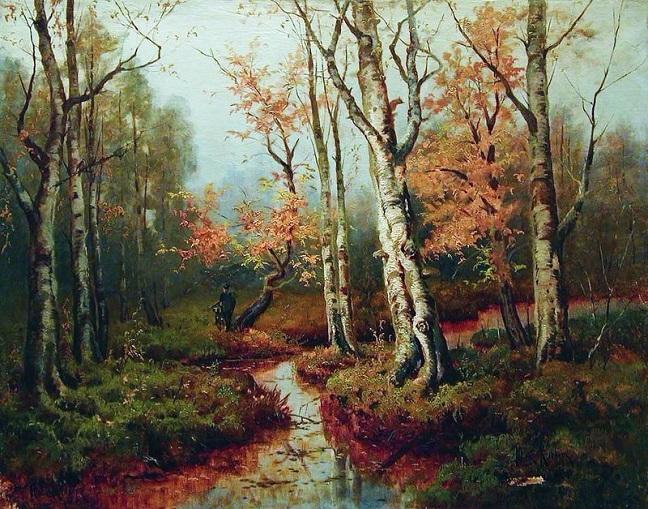 Осенний пейзаж с охотником. 1900 (648x509, 482Kb)