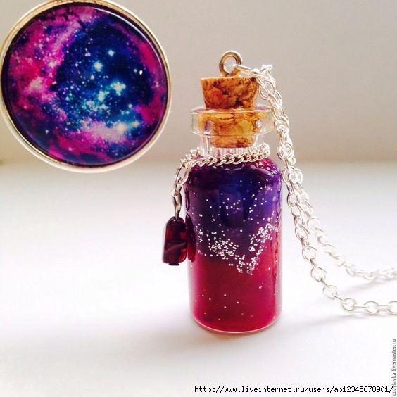 Кулон бутылочка космос
