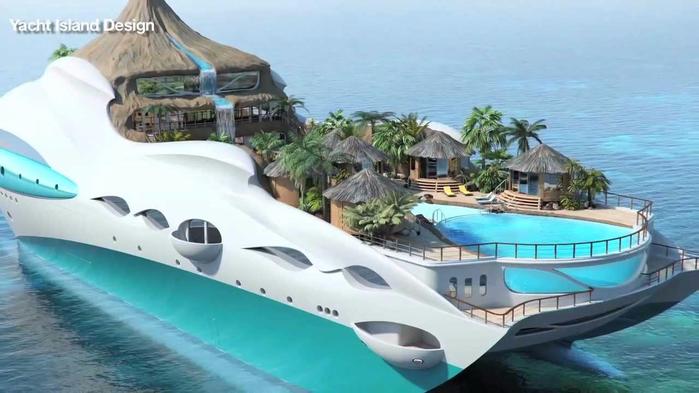 яхта плавучий остров Yacht Island Design 1 (700x393, 245Kb)