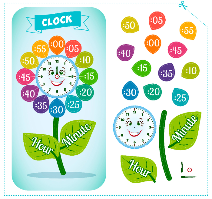 Clock sticker game for children  (700x656, 483Kb)