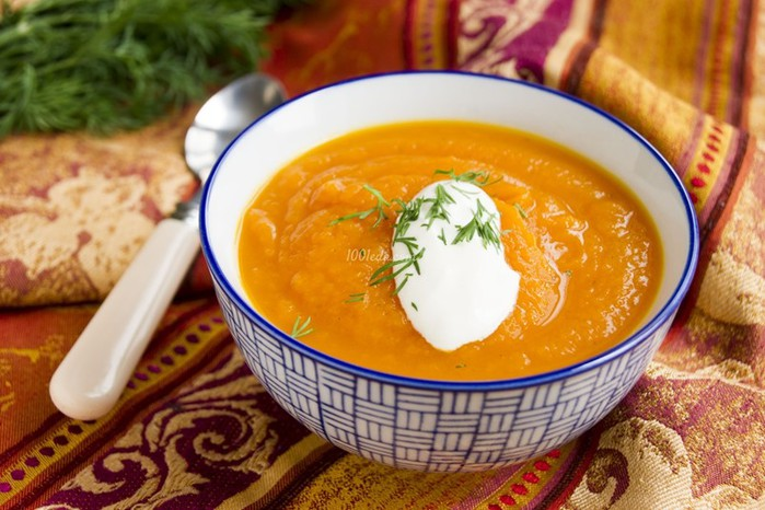 Суп пюре из тыквы с курицей