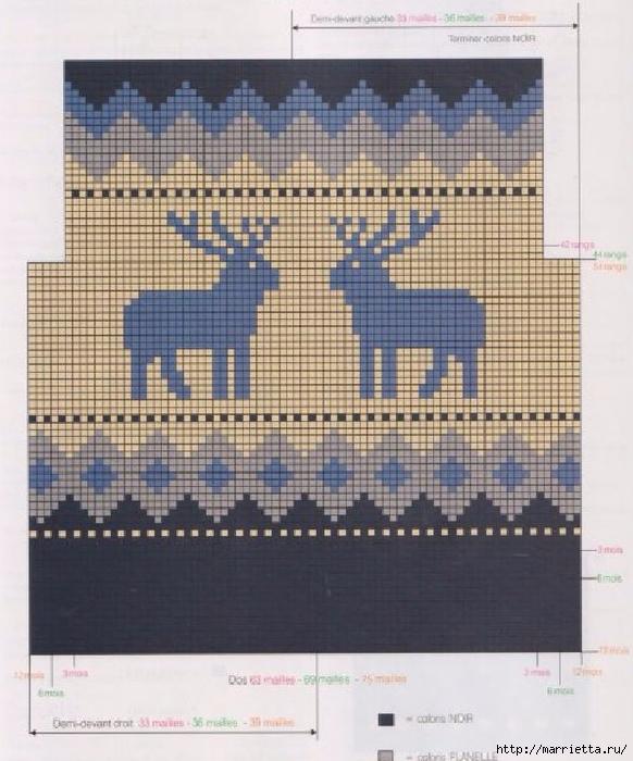 Жакет с оленями вяжем спицами малышу. Схемы (2) (582x700, 284Kb)