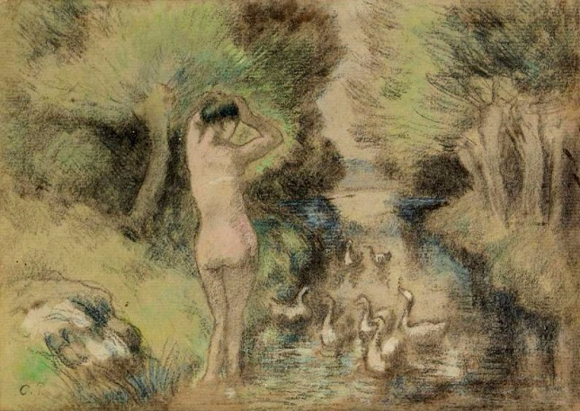 Bathing with Geese, 1895 (645x457, 339Kb)