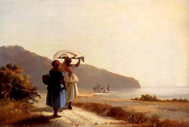 Two Women Chatting by the Sea, St. Thomas (642x433, 210Kb)
