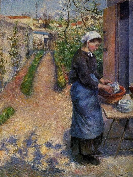 Молодая крестьянка моющая посуду (Young Woman Washing Plates), 1882 (527x700, 236Kb)